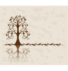 openwork tree on vintage background vector image vector image