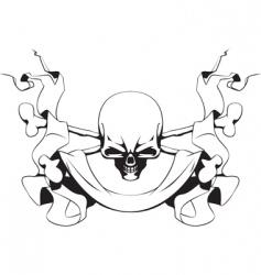 skull and ribbon vector image
