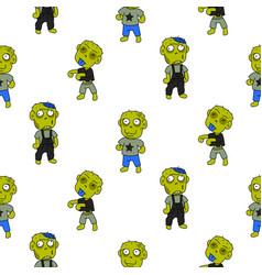 zombie cute cartoon kid seamless pattern vector image