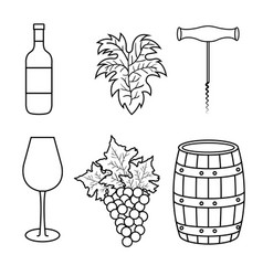 best wine set icons vector image