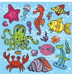 Cartoon Funny Fish Sea Life setColored Doodle vector image vector image