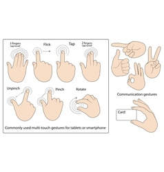 Commonly used gestures vector image vector image