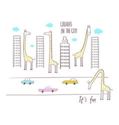 giraffes in the city vector image vector image