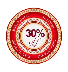 Label on 30 percent discount vector image vector image