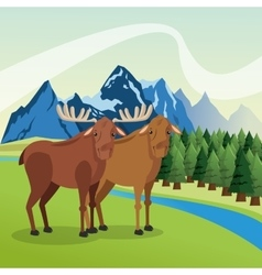 Landscape with animals design mountain icon vector image
