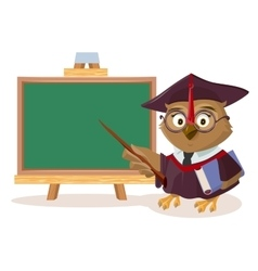 Owl teacher with book and pointer stands near vector image