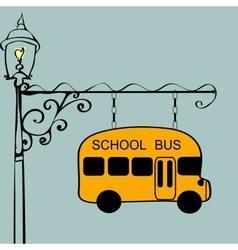 Vintage sign school bus stop vector image