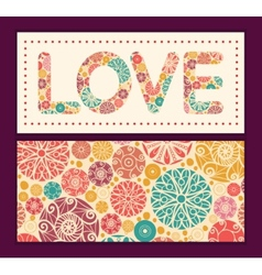Abstract decorative circles love text frame vector