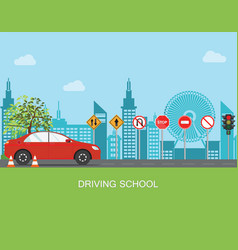 driving school with car and traffic sign vector image