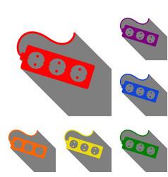 electric extension plug sign set of red orange vector image