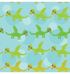 Funny green dragon with wings on blue background vector image