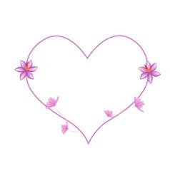 Pink Crocus Sativus Flowers in A Heart Shape vector image
