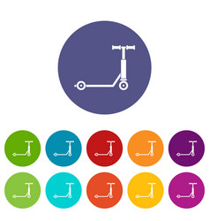 scooter icons set flat vector image