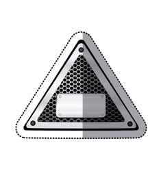 sticker triangle metallic frame with grill vector image vector image