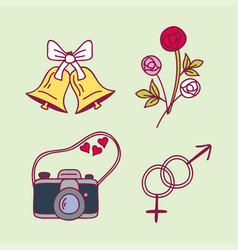 wedding couple relationship marriage nuptial icons vector image vector image