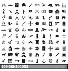 100 guns icons set simple style vector