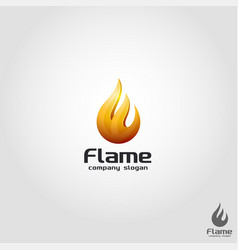 3d flame logo template vector image