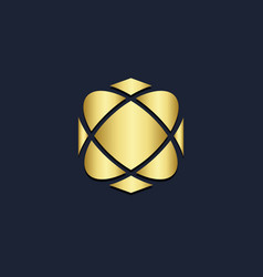 Abstract geometry ornament gold logo vector
