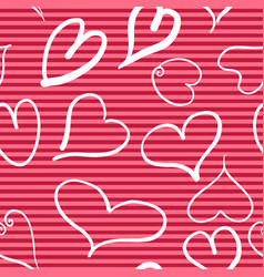 abstract seamless pattern with hearts and red vector image