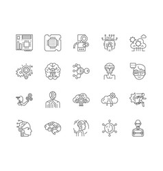 Advanced technology line icons signs set vector