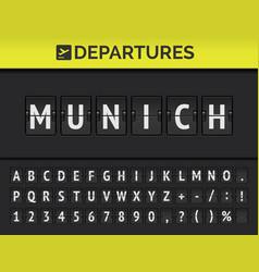 Airport flip board font showing flight departure vector