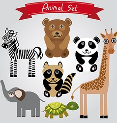 Animal set zebra turtle giraffe elephant panda vector