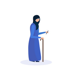 arab old woman walking stick using smartphone vector image