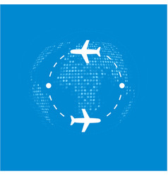 around world on plane vector image