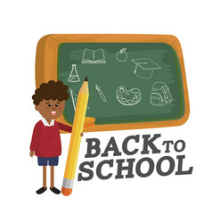 Backboard and boy student with pencil utensil vector