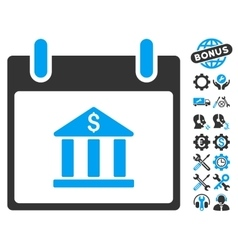 Bank Building Calendar Day Icon With Bonus vector