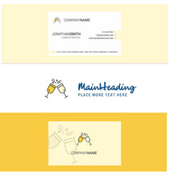 beautiful cheers logo and business card vertical vector image