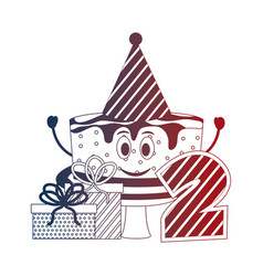 Birthday cake party hat gift and number two vector