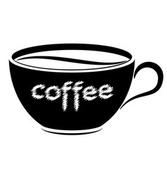 black and white cup with coffee logo or emblem vector image