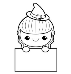 black and white witch mascot is holding a board vector image