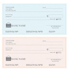 blank bank checks or cheque book vector image