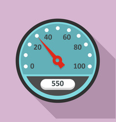 blue speedometer icon flat style vector image