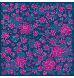 Bright floral pattern with lined and colored vector image