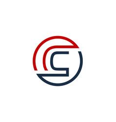 c letter circle line logo icon design vector image