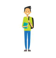 casual boy with backpack hold book student full vector image