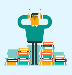 Caucasian student sitting in a huge pile of books vector