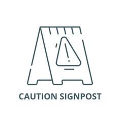 caution signpost line icon caution vector image