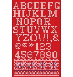 Christmas knitted font in Scandinavian style on vector image