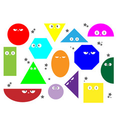 colorful set various bright basic geometric icons vector image
