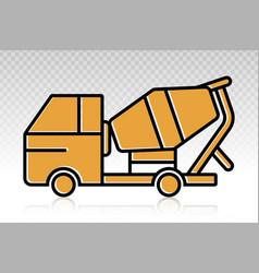 Concrete cement mixer truck flat icon vector
