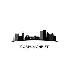 corpus christi city texas skyline black cityscape vector image