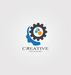 creative mind with gear icon templates logo vector image