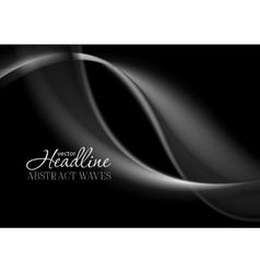 Dark abstract monochrome smooth waves background vector