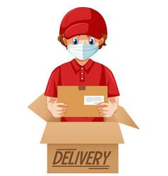 Deliver or courier man in red uniform cartoon vector