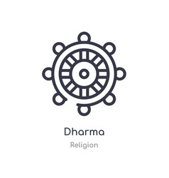 Dharma outline icon isolated line from religion vector