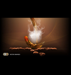 Digital steaming coffee background with vector